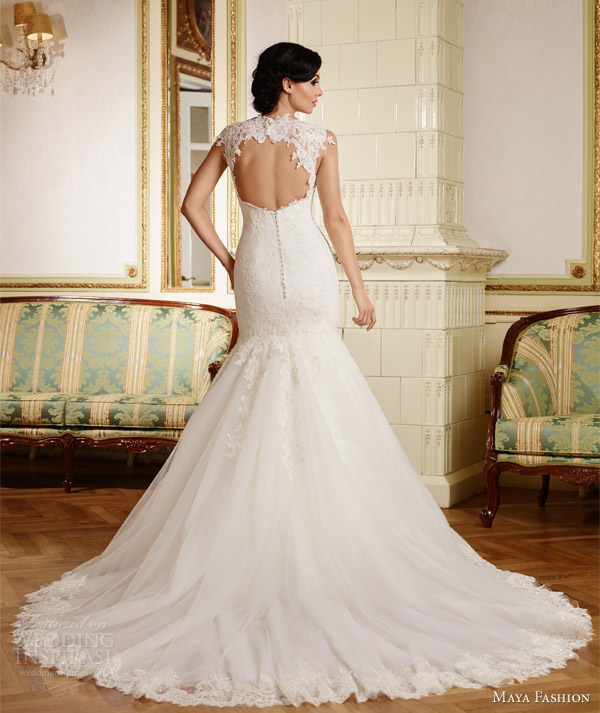 maya fashion 2015 royal bridal sleeveless mermaid wedding dress romania keyhole back view m38