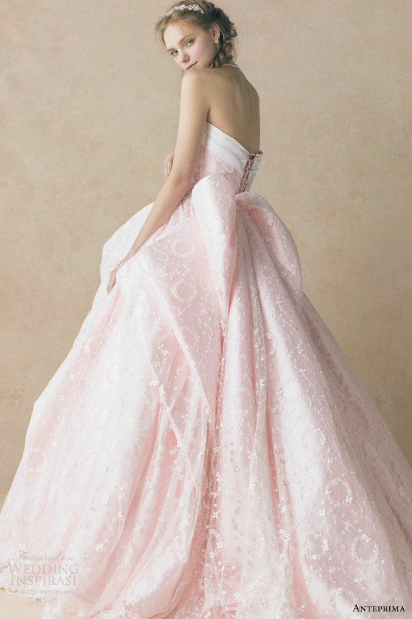 anteprima bridal pink strapless ball gown wedding dress ant0060