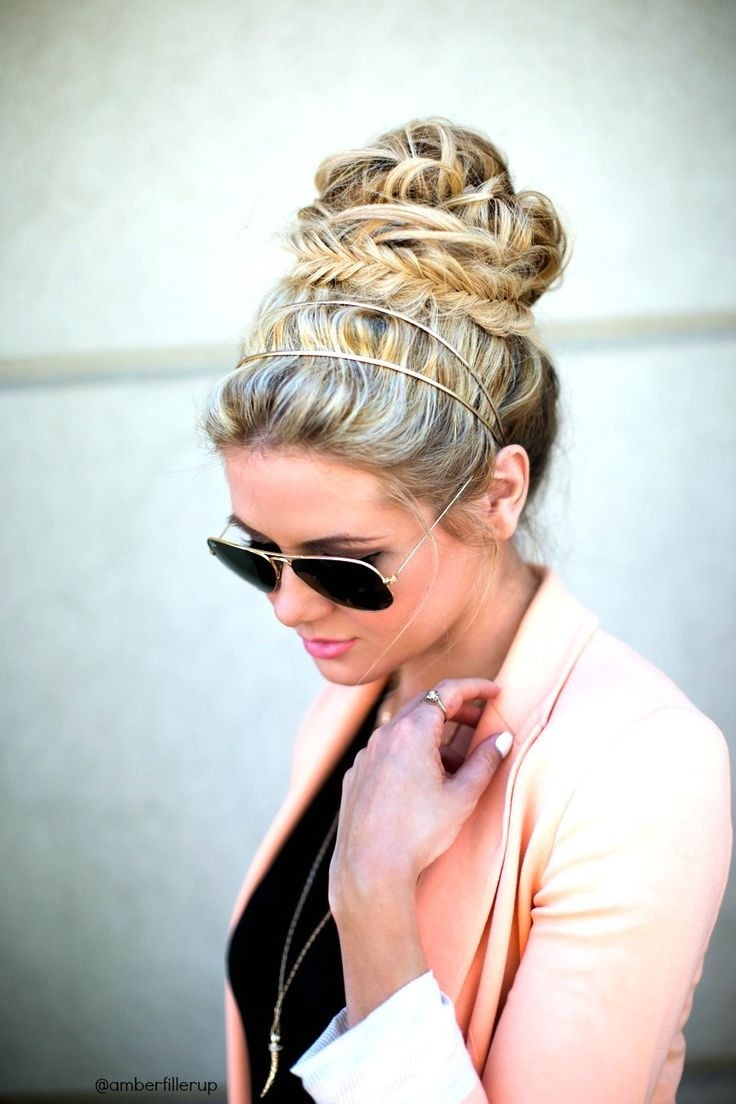 Messy Fishtail Braid Updo for Holiday Hairstyles