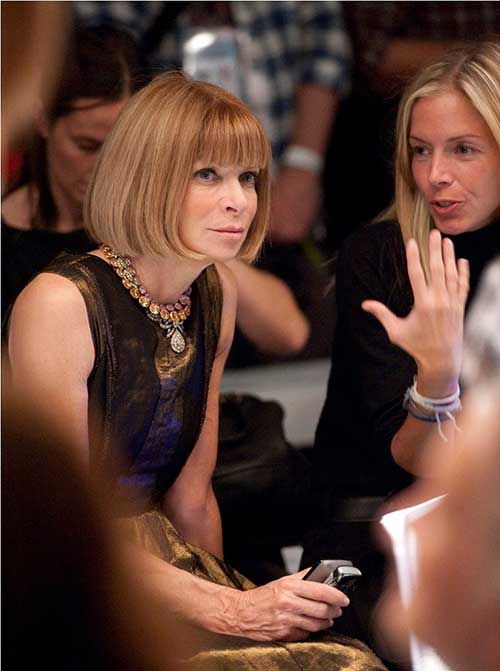 Anna Wintour Chin Length Inverted Bob with Bangs