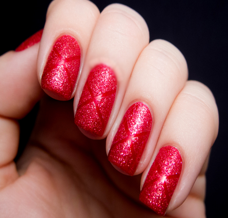 red sparkling nail art