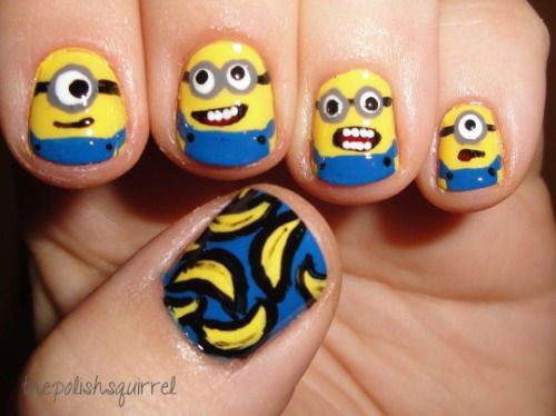 25 Awesome Minion Nail Art Designs Ideas Trends Stickers 2015 9 25+ Awesome Minion Nail Art Designs, Ideas, Trends & Stickers 2015