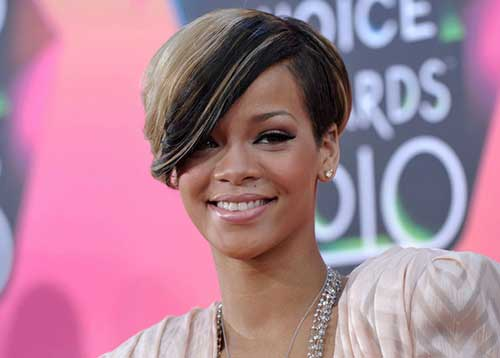 Rihanna Two Colored Hairstyles