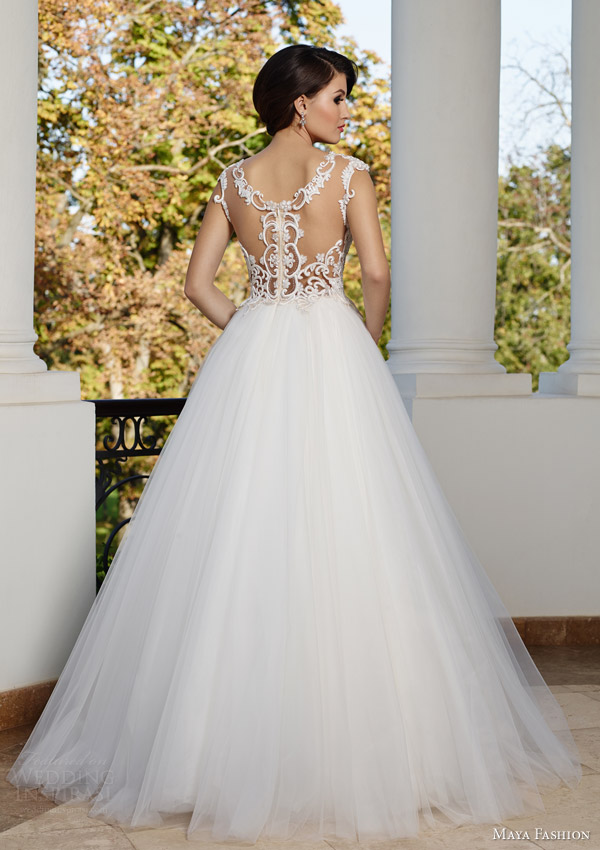 maya bridal 2015 royal wedding dress collection voluminous a line ball gown m49 lace bodice back view