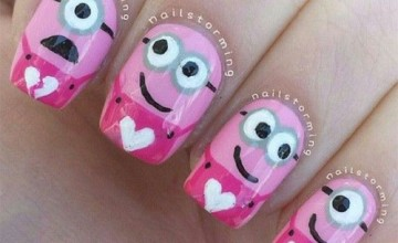 Cute Pink Minion Nail Art Designs, Ideas, Trends & Stickers 2015