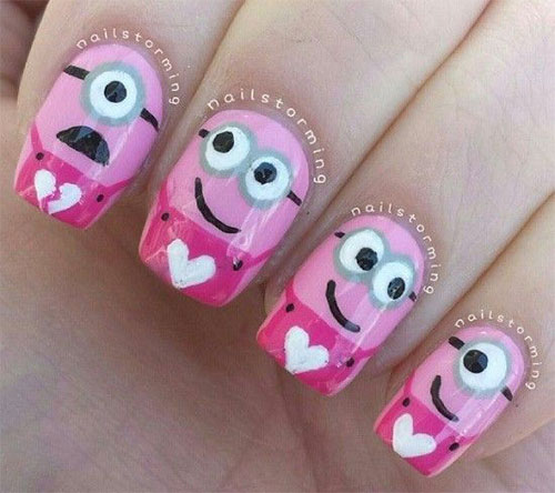Cute Pink Minion Nail Art Designs Ideas Trends Stickers 2015 1 Cute Pink Minion Nail Art Designs, Ideas, Trends & Stickers 2015