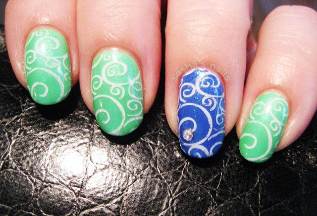 blue-green-lace-stamped-summer-nails