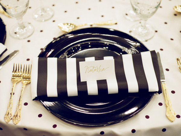 striped wedding details - photo by JD3 Photography http://ruffledblog.com/party-city-wedding-in-atlanta