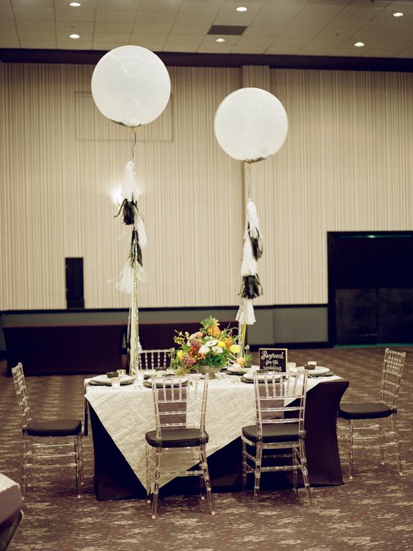 tablescape with oversized balloons - photo by JD3 Photography http://ruffledblog.com/party-city-wedding-in-atlanta