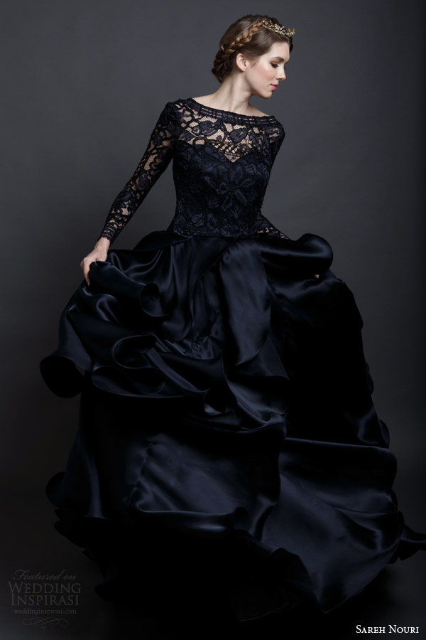 sareh nouri spring 2016 bridal mona lisa black wedding dress ball gown long sleeves side view