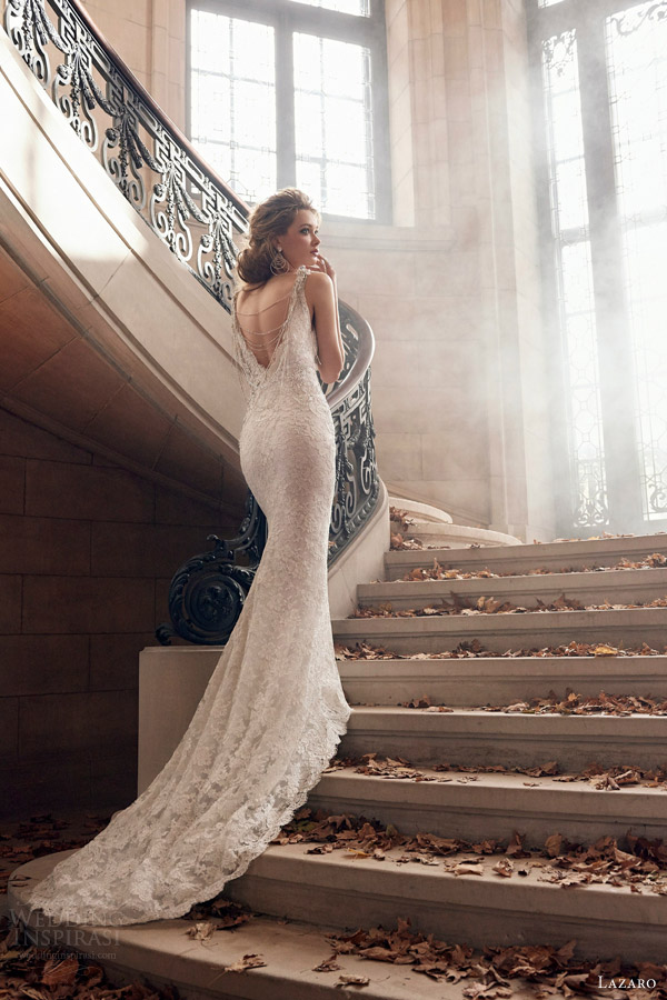 lazaro spring 2015 bridal style 3501 wedding dress alencon lace trumpet v neckline beaded necklace jeweled appliques chapel train back view