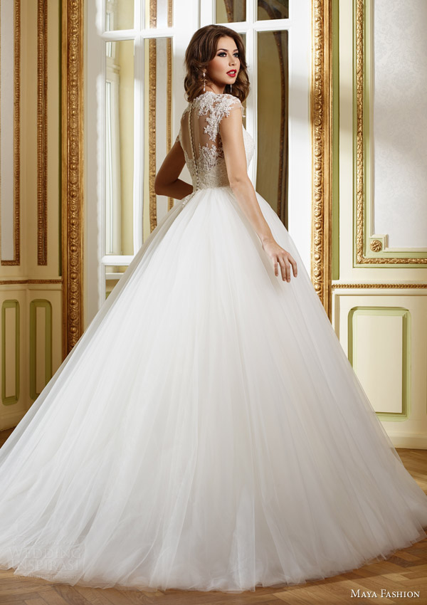 maya fashion 2015 royal bridal collection illusion cap sleeve ball gown m31 back view