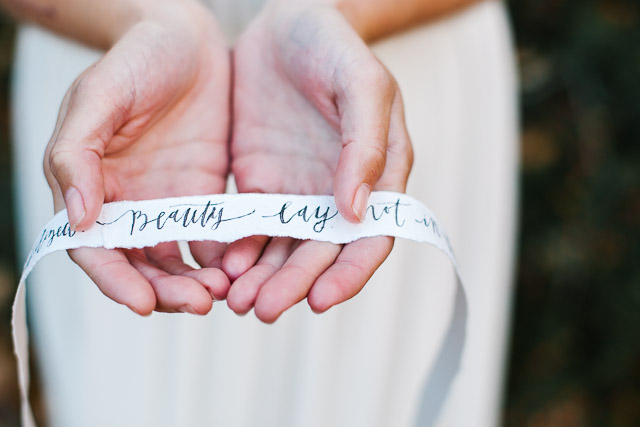 Calligraphy ribbon | Mary Claire Photography | see more on: http://burnettsboards.com/2015/04/dreaming-calligraphy-wedding-editorial/