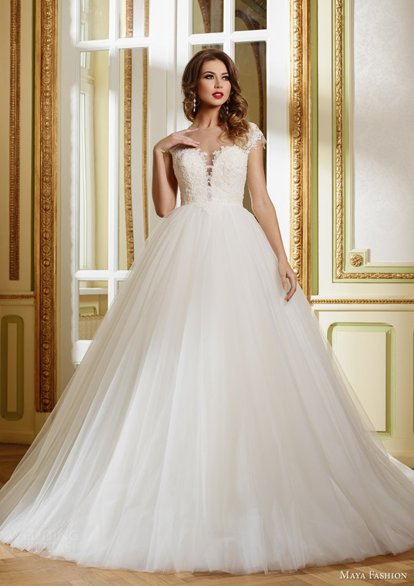 maya fashion 2015 royal bridal collection illusion cap sleeve ball gown m31