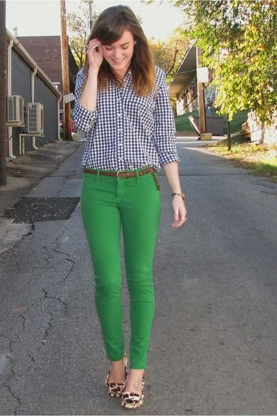 printed flats and green jeans