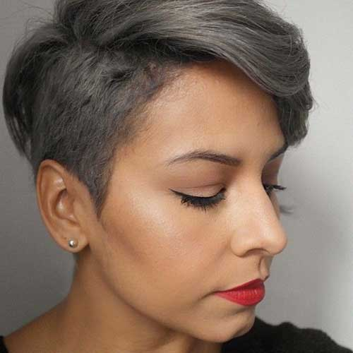 Grey Colored Undercut Hair
