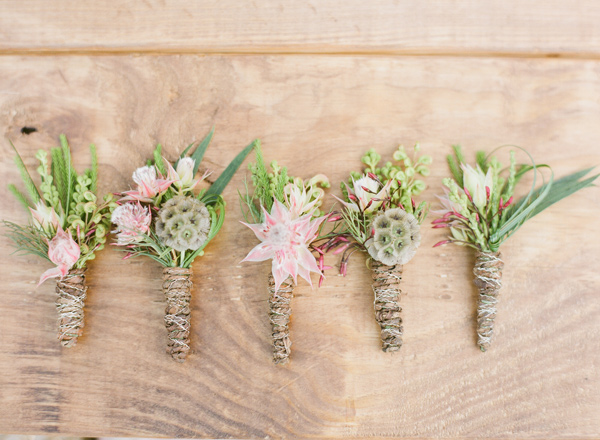 groom boutonnieres - photo by Bella Reese Photography http://ruffledblog.com/graceful-desert-wedding-at-enchanted-rock
