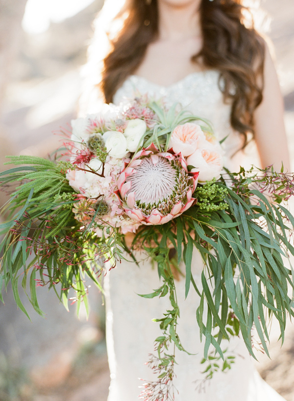 protea bouquet - photo by Bella Reese Photography http://ruffledblog.com/graceful-desert-wedding-at-enchanted-rock