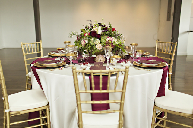 Burgundy and gold wedding reception | Courtney Bowlden Photography | see more on: http://burnettsboards.com/2015/04/burgundy-gold-wedding-ideas/