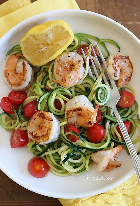 Zoodles with Lemon-garlic Spicy Shrimp