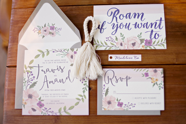wanderlust wedding invitations - photo: Andie Freeman - http://ruffledblog.com/wanderlust-inspired-wedding-in-los-angeles