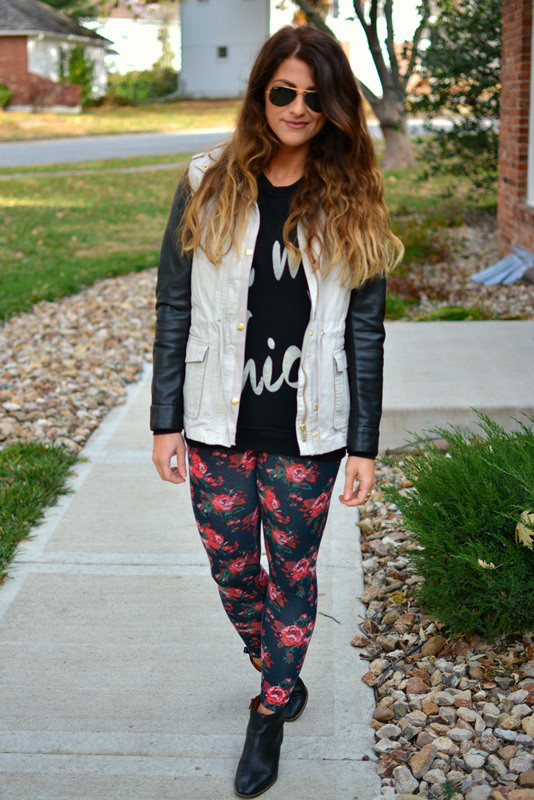floral leggings printed shirt