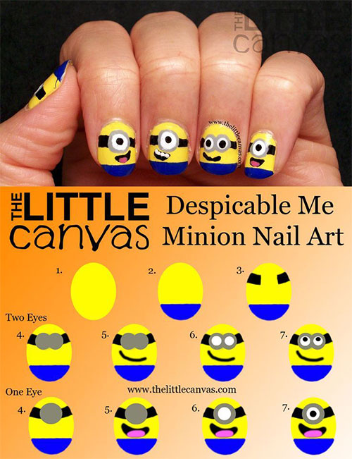 10 Easy Step By Step Minion Nail Art Tutorials For Beginners Learners 2015 10 10 Easy Step by Step Minion Nail Art Tutorials For Beginners & Learners 2015