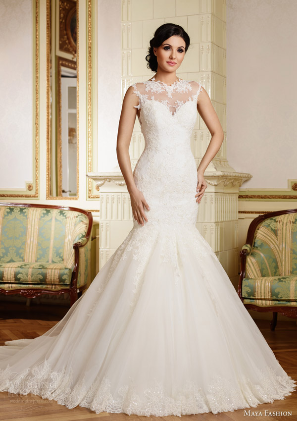 maya fashion 2015 royal bridal sleeveless mermaid wedding dress romania m38
