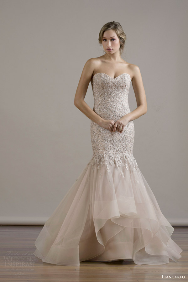 liancarlo bridal fall 2015 wedding dress style 6810 crystal embroidery drop torso strapless gown skirt ruffles