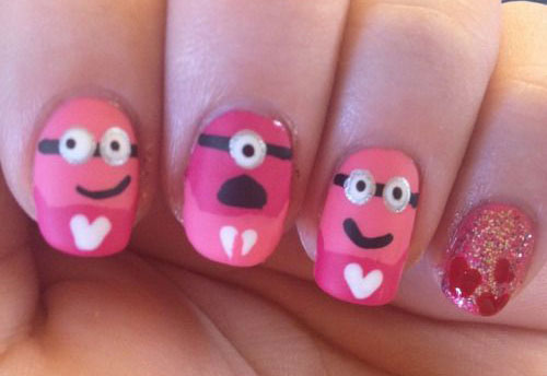 Cute Pink Minion Nail Art Designs Ideas Trends Stickers 2015 5 Cute Pink Minion Nail Art Designs, Ideas, Trends & Stickers 2015