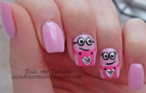 Cute Pink Minion Nail Art Designs Ideas Trends Stickers 2015 6 Cute Pink Minion Nail Art Designs, Ideas, Trends & Stickers 2015
