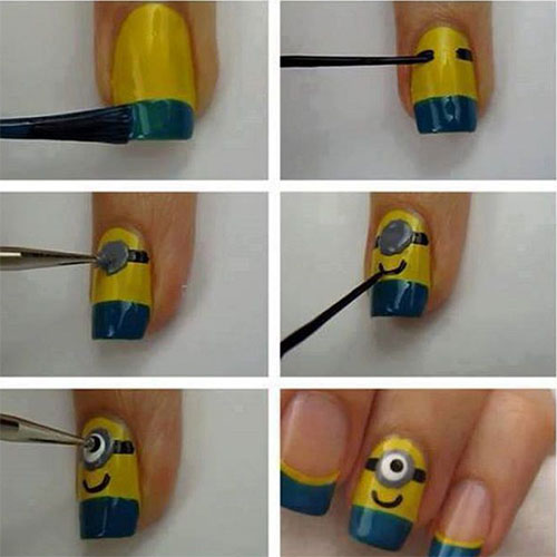 10 Easy Step By Step Minion Nail Art Tutorials For Beginners Learners 2015 6 10 Easy Step by Step Minion Nail Art Tutorials For Beginners & Learners 2015
