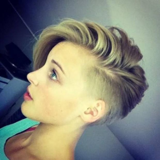 Half-shaved short hairstyle.