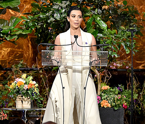 Kim Kardashian took the stage at 2015 Variety's Power of Women lunch, where she was honored.