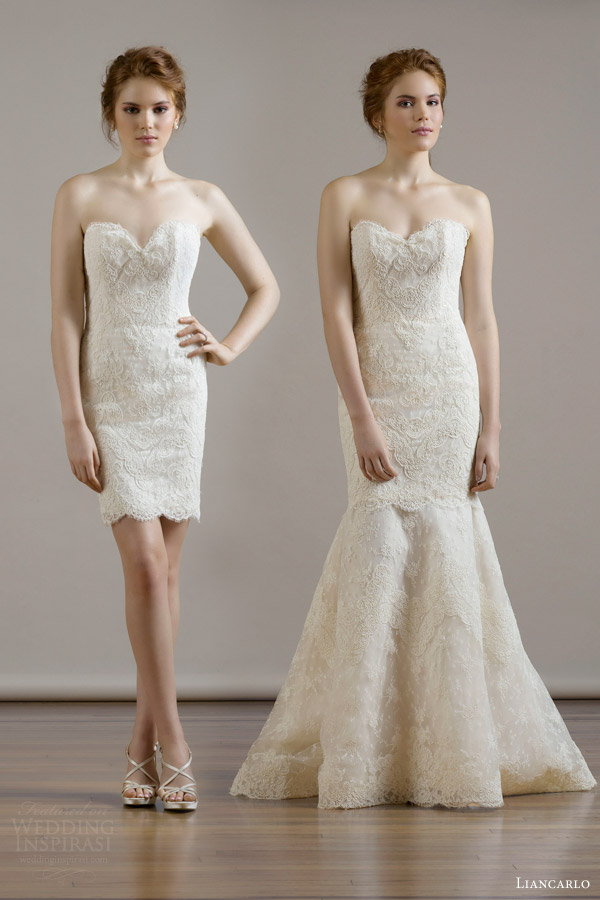 liancarlo bridal fall 2015 french alencon lace 2 piece strapless cocktail wedding dress style 6801 removable full length mermaid underskirt