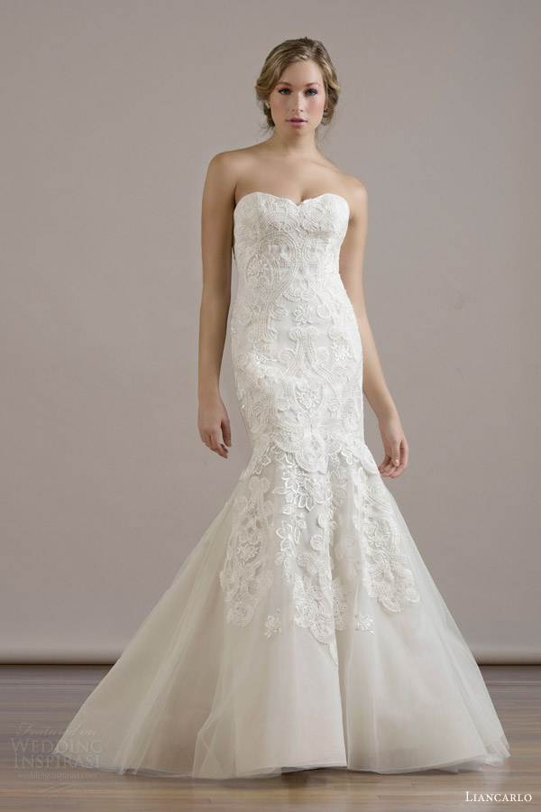 liancarlo bridal fall 2015 wedding dress style 6812 macrame embroidery illusion tulle drop waist sweetheart strapless mermaid gown