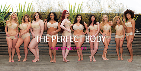 The UK's Curvy Kate's new lingerie ad featuring models in nude underwear to promote their idea of the perfect body.