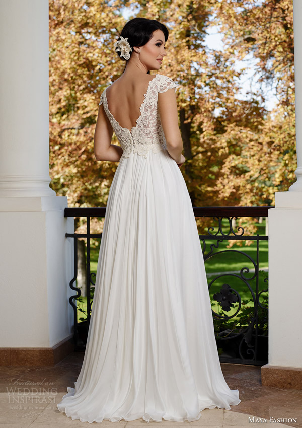 maya fashion wedding dresses 2015 cap sleeve gown slit lace bodice royal collection m44 back view