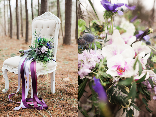 purple wedding flowers - photo by Jen and Chris Creed http://ruffledblog.com/purple-and-ivory-wedding-in-the-woods
