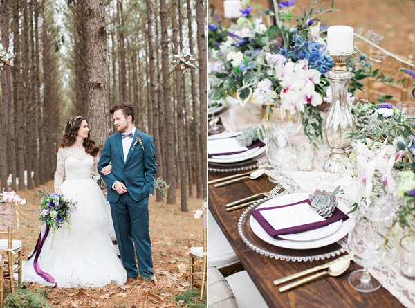 purple wedding ideas - photo by Jen and Chris Creed http://ruffledblog.com/purple-and-ivory-wedding-in-the-woods