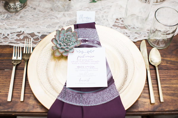 purple and ivory wedding in the woods - photo by Jen and Chris Creed http://ruffledblog.com/purple-and-ivory-wedding-in-the-woods