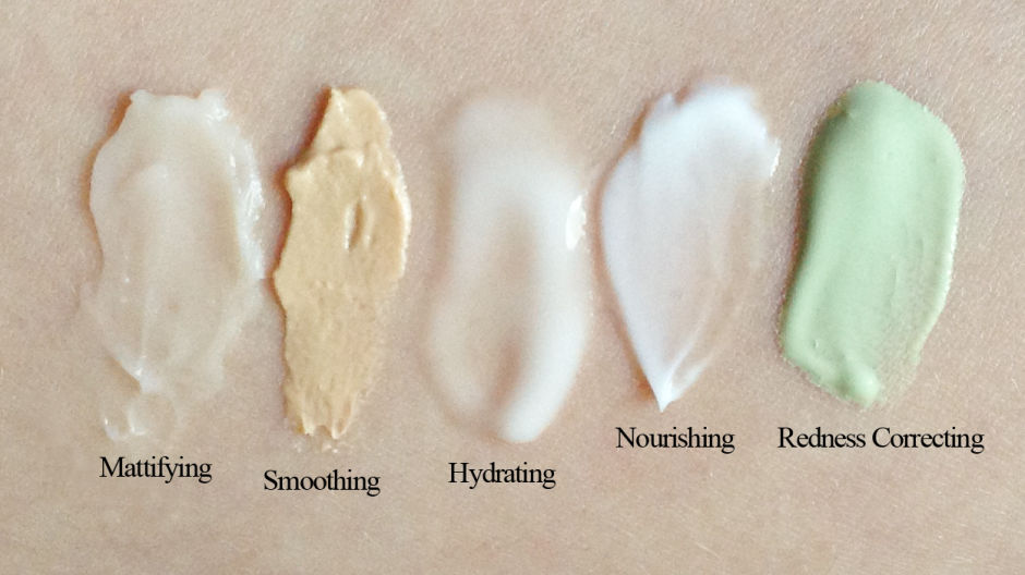 Swatches of the Make Up For Ever Step 1 Skin Equalizer texture formulas.
