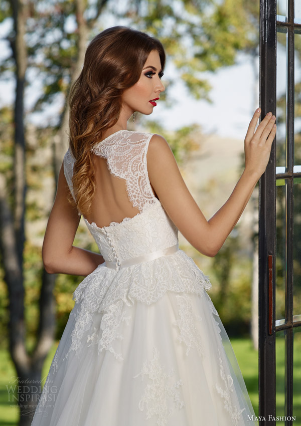 maya bridal 2015 royal wedding dress collection sleeveless ball gown peplum lace bodice m40 keyhole back view