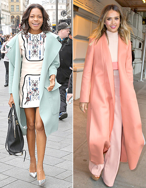 Pastels galore! Naomie Harris models a mint coat, while Jessica Alba struts in head-to-toe coral.