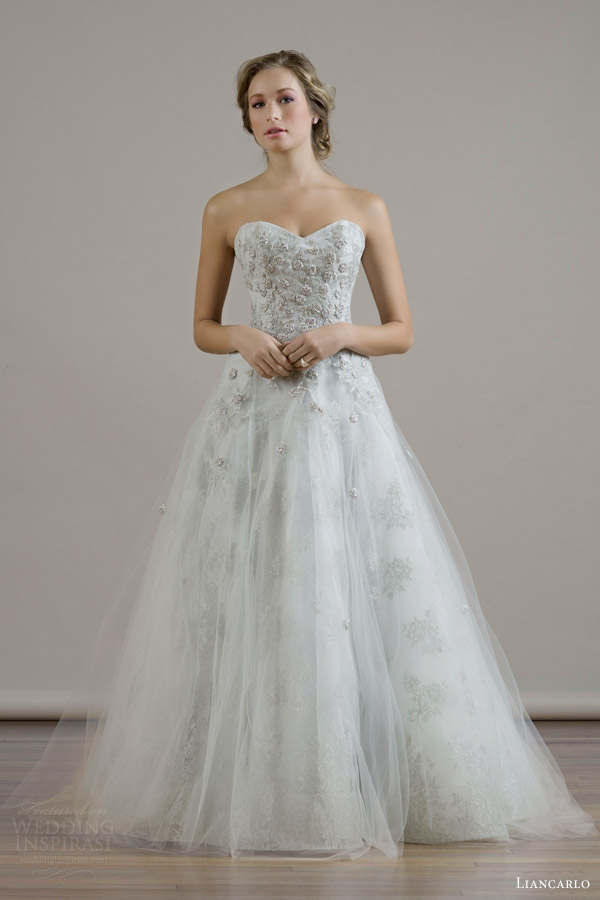 liancarlo bridal fall 2015 wedding dress style 6818 metallic guipure lurex chantilly Illusion tulle sweetheart strapless ball gown mist