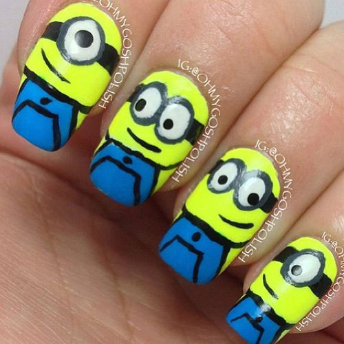 25 Awesome Minion Nail Art Designs Ideas Trends Stickers 2015 4 25+ Awesome Minion Nail Art Designs, Ideas, Trends & Stickers 2015