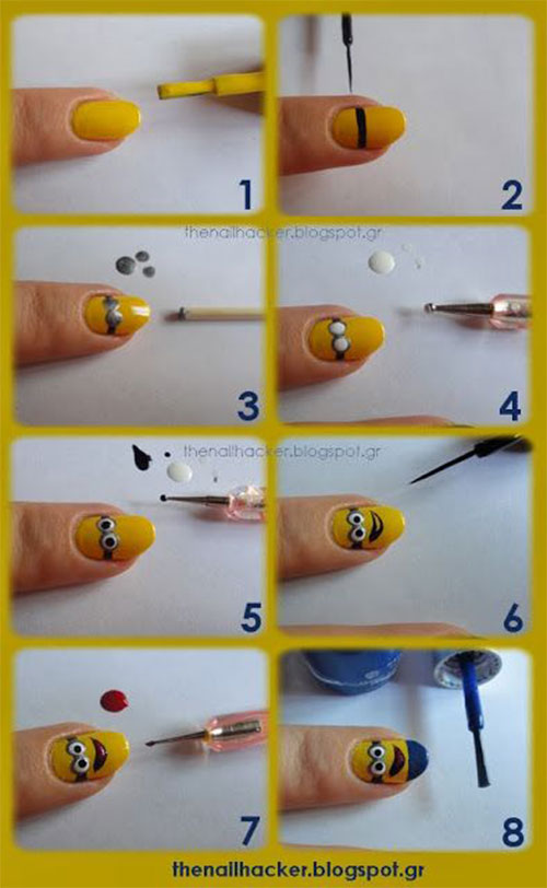 10 Easy Step By Step Minion Nail Art Tutorials For Beginners Learners 2015 3 10 Easy Step by Step Minion Nail Art Tutorials For Beginners & Learners 2015