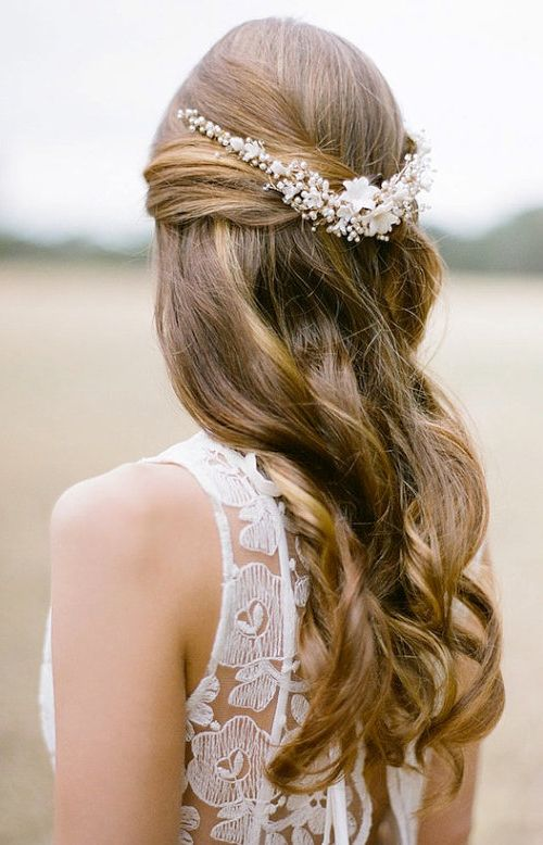 half do hairstyle flower pearl headpiece
