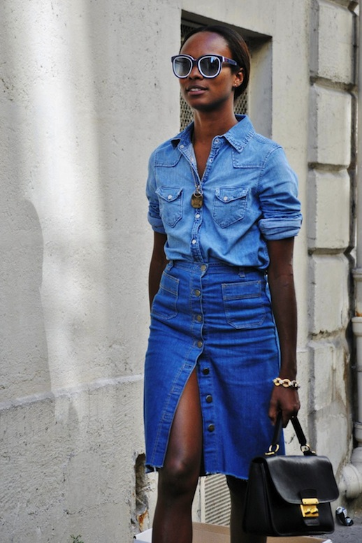 button front skirt denim on denim