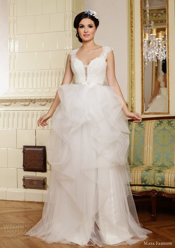 maya bridal romania 2015 royal wedding dress collection cap sleeve lace gown gathered tulle skirt m42